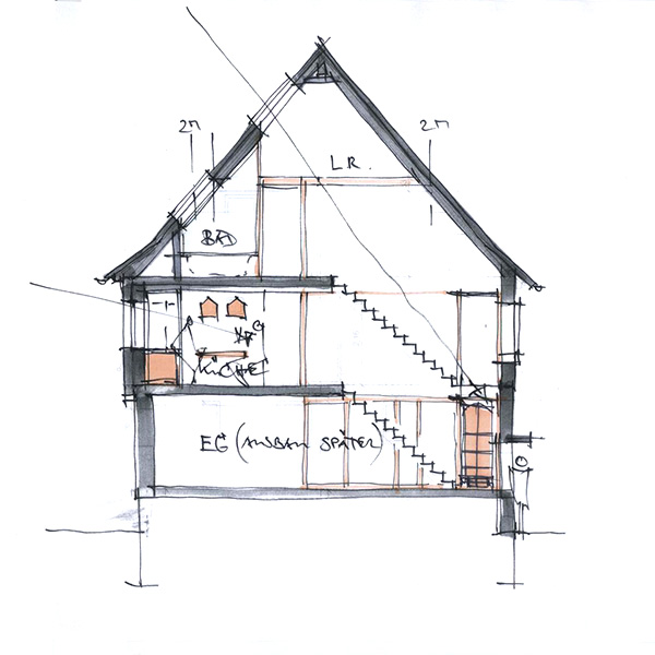 Architekturb ro peter brinkmann umbau reihenhaus mit for Fachwerkhaus skizze