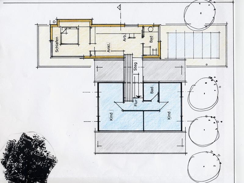 architekturb ro peter brinkmann anbau eines holzhauses an ein bestehendes haus. Black Bedroom Furniture Sets. Home Design Ideas